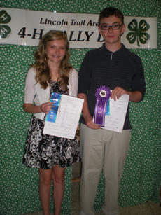 "<div class=""source"">Photo submitted</div><div class=""image-desc"">The Lincoln Trail  Area 4-H Rally Day was held on Saturday, May 12 in Elizabethtown. Six Washington County 4-H members competed in the Talk Meet competition. Above are Jennifer Hamilton and Aaron Robinson.</div><div class=""buy-pic""></div>"