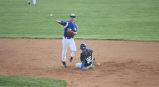 """<div class=""""source"""">Photo by Brandon Mattingly</div><div class=""""image-desc"""">Senior Michael Godshall finished off a 6-4-3 double play that was started by sophomore Wade Moore in Monday's 6-4 loss to LaRue County at home. The Commanders picked up a 4-1 win last week over Thomas Nelson to improve to 5-3 in district play. They'll be the three seed in next week's 19th District tournament, which will be played at Idle Hour Park.</div><div class=""""buy-pic""""><a href=""""/photo_select/14297"""">Buy this photo</a></div>"""