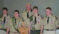 """<div class=""""source"""">Courtesy of Troop 429</div><div class=""""image-desc"""">Scoutmaster Steve Hale poses with Springfield's newest Eagle Scouts. From left are Will Hale, son of Steve and Mary Ann Hale; Jordan Simpson, son of John and Jan Simpson;  Scoutmaster Steve Hale; Philip Wesley Campbell, son of Philip and Erika Campbell; a</div><div class=""""buy-pic""""><a href=""""/photo_select/137"""">Buy this photo</a></div>"""