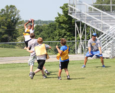 """<div class=""""source"""">Photo by Brandon Mattingly</div><div class=""""image-desc"""">Jaja Churchill elevated above his opponents for a catch during a two-hand touch scrimmage.</div><div class=""""buy-pic""""><a href=""""/photo_select/14510"""">Buy this photo</a></div>"""