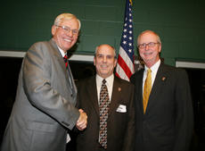 "<div class=""source"">Submitted</div><div class=""image-desc"">President of Springfield State Bank, Robbie Polin (center) receives thanks from SCC President William D. Huston after announcing the bank's donation of $55,000 at the Circle of Friends dinner. Hamilton Simms joined at right.</div><div class=""buy-pic""><a href=""/photo_select/6691"">Buy this photo</a></div>"