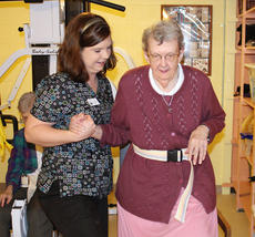 "<div class=""source"">Jeff Moreland</div><div class=""image-desc"">Sr. Joann Luttrell is assisted by Shana Baker during an exercise at Sansbury Care Center's rehab center. Luttrell saw great improvement and is now a graduate of the program.</div><div class=""buy-pic""><a href=""/photo_select/8117"">Buy this photo</a></div>"