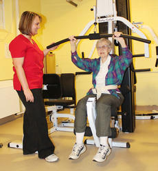 "<div class=""source"">Jeff Moreland</div><div class=""image-desc"">Sr. Margaret Marie Hofstetter, former president of St. Catharine College, got in her exercise as occupational therapist and director of the Sansbury Care Center Outpatient Rehab Center Laura Livers supervised.</div><div class=""buy-pic""><a href=""/photo_select/8118"">Buy this photo</a></div>"