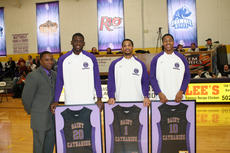 """<div class=""""source"""">Photo by SCC Sports Information</div><div class=""""image-desc"""">Three seniors were honored on Senior Day before Saturday's game against Campbellsville. Patriot coach J.T. Burton joins seniors (from left) Delonte Taylor, Terrance Withers and Brandon Johnson.</div><div class=""""buy-pic""""></div>"""