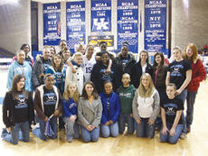 "<div class=""source"">Shorty Lassiter</div><div class=""image-desc"">The Washington County Commanderettes pose for a picture with UK Wildcat and former Washington County star Brittany Edelen (center, 15) following Sunday's UK game at Memorial Collesium. Kentucky defeated Arkansas 72-63, and Edelen hit a three-pointer in th</div><div class=""buy-pic""><a href=""/photo_select/1568"">Buy this photo</a></div>"