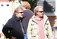 """<div class=""""source"""">Jeff Moreland</div><div class=""""image-desc"""">Brothers Jerry and Greg Pope of Two Popes Production Company looked up Main Street during a break in filming.</div><div class=""""buy-pic""""><a href=""""/photo_select/3897"""">Buy this photo</a></div>"""