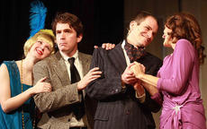 """<div class=""""source"""">Stephen Lega / Landmark News Service</div><div class=""""image-desc"""">From left, Jade Fields (played by Mary Sue Gray), Brimstone T. Lemmon (G.B. Dixon), Guy Stalwart (Wesley Marlowe) and Violet Fields (Robin Humphress) seek their own goals throughout """"The Desperate Director."""" This past weekend, Kentucky Classic Theatre gave its first two performances of """"The Desperate Director,"""" a new, old-fashioned melodrama. The play is set in the 1920s. Movie director Brimstone T. Lemmon (played by G.B. Dixon) tries to convince Violet Fields (played by Robin Humphress) to become his wife and to star in movies for him. Fields is in love with Guy Stalwart (played by Wesley Marlowe), a famous actor in his own right, who has reasons to distrust Lemmon. Audience members are encouraged to react to the action and the characters on the stage. The final two performances of the play will be presented at 8 p.m. Nov. 30 and Dec. 1 at the Centre Square Fine Arts Building. Tickets can be purchased at Farmers National Bank, 100.9 MIKE FM and at the Lebanon Tourist and Convention Commission Office in Lebanon or at Taylor County Bank in Campbellsville. For more information, call (270) 692-0021.</div><div class=""""buy-pic""""><a href=""""/photo_select/13388"""">Buy this photo</a></div>"""