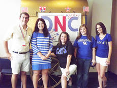 """<div class=""""source"""">Photo submitted</div><div class=""""image-desc"""">Amy Bland, center, a St. Catharine College employee, recently attended the Democratic National Convention. From left to right are Jordan Shewmaker, Liz Fossett, Amy Bland, Laken Gilbert and Kerry Holleran.</div><div class=""""buy-pic""""></div>"""