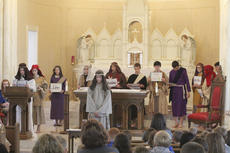"""<div class=""""source"""">Photo by Brandon Mattingly</div><div class=""""image-desc"""">Students from St. Dominic School paid tribute to the evens surrounding the Last Supper at St. Dominic Church on Thursday.</div><div class=""""buy-pic""""><a href=""""/photo_select/16235"""">Buy this photo</a></div>"""