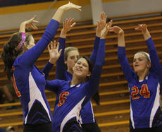 """<div class=""""source"""">John Overby</div><div class=""""image-desc"""">The Commanderettes celebrate a point during a district game against Nelson County last Tuesday night.</div><div class=""""buy-pic""""><a href=""""/photo_select/14988"""">Buy this photo</a></div>"""