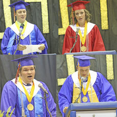 """<div class=""""source""""></div><div class=""""image-desc"""">Mason Carrico (top left) and Stephen Carney (bottom left) were named co-valedictorians of the 2014 class, while Mackenzie Messer (top right) and Seth Robinson (bottom right) were named co-salutatorians.</div><div class=""""buy-pic""""><a href=""""/photo_select/16517"""">Buy this photo</a></div>"""