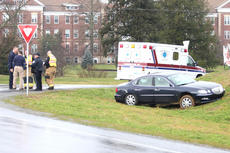 """<div class=""""source"""">Jesse Osbourne</div><div class=""""image-desc"""">Emergency personnel gathered after the victim of an accident at the roundabout near the St. Catharine campus left the scene injured. </div><div class=""""buy-pic""""><a href=""""/photo_select/10660"""">Buy this photo</a></div>"""