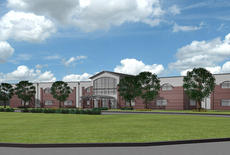 "<div class=""source"">Renderings courtesy of Ross Tarrant Architects</div><div class=""image-desc"">Pictured is a rendering of the front of the new high school. The plans were approved on Nov. 21 at the school board meeting. Some minor changes, such as colors, can still be changed. </div><div class=""buy-pic""></div>"