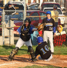 """<div class=""""source"""">Peter W. Zubaty/Landmark News Service</div><div class=""""image-desc"""">Washington County's Ben Bishop (10) slides into home ahead of the throw while teammate Matthew Osborne (16) watches during district baseball action against Bethlehem last Friday in Bardstown. The Commanders fell to the Eagles 9-6 to drop their third strai</div><div class=""""buy-pic""""><a href=""""/photo_select/6438"""">Buy this photo</a></div>"""