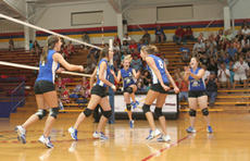 """<div class=""""source"""">Jimmie Earls</div><div class=""""image-desc"""">The Washington County Commanderettes react to a first-game win over Nelson County last Thursday. WC fought hard but came up short in game three, losing 25-23 as the Lady Cards won 2-1. Pictured from left are Olivia Taylor, Sarah Colvin, LeeAnn Abell, Clar</div><div class=""""buy-pic""""><a href=""""/photo_select/3510"""">Buy this photo</a></div>"""