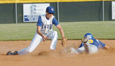 "<div class=""source"">Neal Cardin/Landmark News Service</div><div class=""image-desc"">Fergus McCain steals second base ahead of the tag from LaRue County's Lucas Chaudoin Monday in 5th Region Tournament action in Elizabethtown.</div><div class=""buy-pic""><a href=""/photo_select/4492"">Buy this photo</a></div>"