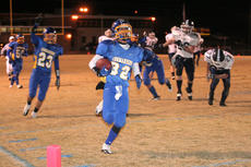 """<div class=""""source"""">Photo by Jimmie Earls</div><div class=""""image-desc"""">Markus Reardon (32) streaks down the right sideline into the end zone for the Commanders to put Washington County in the lead at the start of the fourth quarter Friday night against Monroe County. Points off of turnovers were the difference as Monroe scored late to take a 36-35 lead. WC went for a field goal with a minute left to play, but the kick was blocked and Monroe held on for the win.</div><div class=""""buy-pic""""><a href=""""/photo_select/7222"""">Buy this photo</a></div>"""