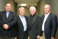 """<div class=""""source"""">Photo by Jimmie Earls</div><div class=""""image-desc"""">Father Patrick Delahanty, second from right, discussed the Catholic political agenda with area politicians at a forum held at St. Catharine College on Sunday. Pictured with Delahanty from left are senator Jimmy Higdon and representatives David Floyd and Terry Mills.</div><div class=""""buy-pic""""><a href=""""/photo_select/7280"""">Buy this photo</a></div>"""