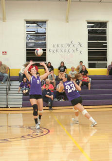 """<div class=""""source"""">Jimmie Earls</div><div class=""""image-desc"""">St. Catharine's Sam Bradbury (2) sets the ball as teammate Jordan Boyle (23) cuts to the right for a shot against Lindsey Wilson College last Thursday in Springfield. Despite losing the match 3-0, the Patriots swept three games this past Saturday to impro</div><div class=""""buy-pic""""><a href=""""/photo_select/3281"""">Buy this photo</a></div>"""