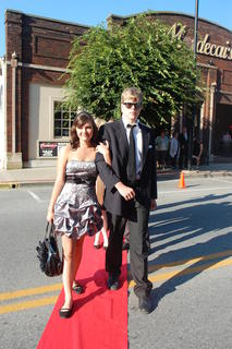 "Newest Central Kentucky Youth Actor Natalie Warren of Marion County is escorted on the red carpet by veteran actor and award nominee of both Main Stage and Youth Actor productions, Philip Wesley Campbell.  Wesley took home the 'Best Supporting Actor Jeannie' for his performance as Thenardier in ""Les Mis""."