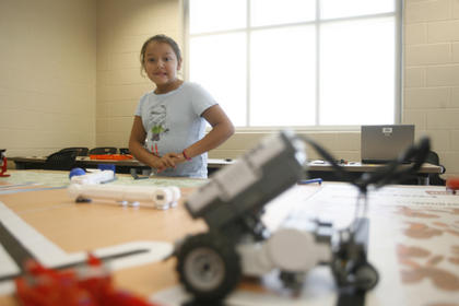 Camille Valenzuela watched anxiously as her robot went through the obstacle course. 