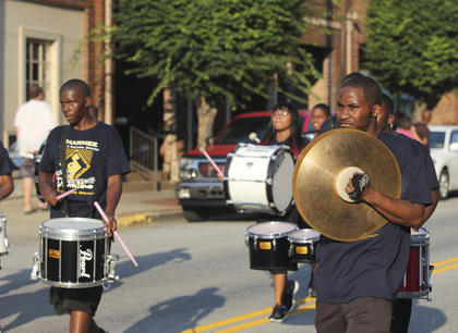 Members of the Shawnee drumline earned applause from the crowd for their impressive showing during Friday's parade.