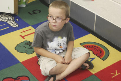 Trey Dones sits in his classroom at North Washington School.