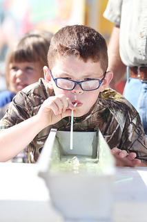 Landon Cayf, 7, tries to convince his minnow to head for the finish line in one of Saturday's minnow races.