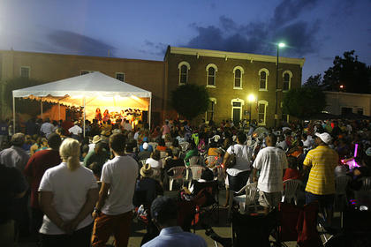 Crowds filled the street to hear the Jimmy Church Band on Friday night.