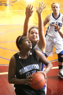 Sophomore Kenya Turner went to the hoop against LaRue County in the second half of the Fifth Region first-round game.