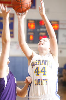 Freshman Mikayla Craig went to work in the paint against Campbellsville on Tuesday, Jan. 25, at Washington County.