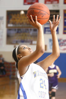 Freshman Riquel Logan had an easy layup against Campbellsville on Tuesday, Jan. 25, at Washington County.