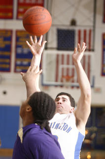 Senior Seth Mattingly shot from the paint against Campbellsville on Tuesday, Jan. 25, at Washington County.