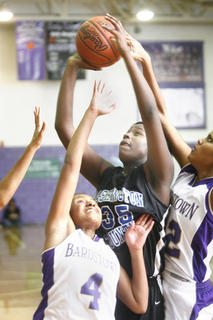 Sophomore Kenya Turner was smothered by Bardstown defenders but it didnt stop her from scoring 18 points and grabbing 17 rebounds. 