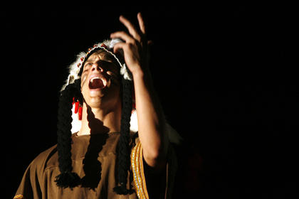 Tyler Coulter, with headress, sang a song from the movie Pocahontas. The event raised approximately $3,000 for Relay for Life. 