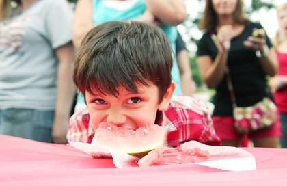 Carlos Ornelas, 5, was the winner of the watermelon-eating contest for kids ages six and under during the Independence Day celebration in Springfield.