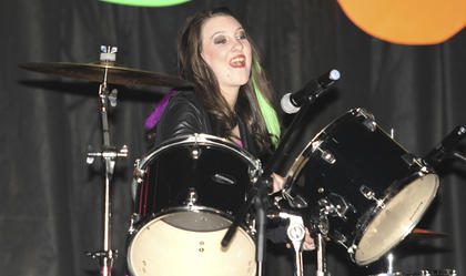 "Bailey Nichole Woford took to the drums to play ""Bang Dem Sticks,"" by Meghan Trainor."