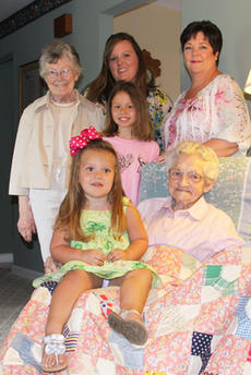 """<div class=""""source"""">Geoff Hamill</div><div class=""""image-desc"""">Clara Mae Blandford with friends at her Kelly Corner home. Back row, left to right, Joyce Boone, Veronica Durham, Lucinda Effner. Middle: Kenndy Hart. OnBlandford's lap is Lucy Kate Durham. </div><div class=""""buy-pic""""><a href=""""/photo_select/14551"""">Buy this photo</a></div>"""