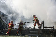 """<div class=""""source"""">Jesse Osbourne</div><div class=""""image-desc"""">Firefighters battled a blaze at 2713 Tatum Springs Road in Willisburg on Friday afternoon. </div><div class=""""buy-pic""""><a href=""""/photo_select/10355"""">Buy this photo</a></div>"""