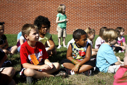 Students at North Washington Elementary listened closely to playground etiquette.
