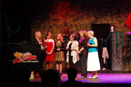 "Central Kentucky Community Theatre outgoing president, Jerry Effner, presents the President's Award in recognition of ""Unbridled Support"" of the theatre to the city of Springfield, Nell Haydon, Laurie Smith and Kathy Elliott at the Jeannie Awards Gala at the Opera House in Springfield,Ky."