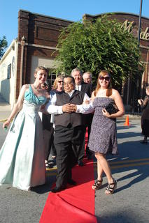 Glamorous 'Jeannie Award' Nominees Charlotte Campbell, Springfield, and Ashley Chasteen, Bardstown, were escorted on the red carpet by Gordon Thomas, Hodgenville.  Behind them are Laurie Smith and award presenters County Judge Executive John Settles and Attorney, D. Carroll Kelly.  Charlotte Campbell went on to win the Main Stage Gypsy Award, Youth Actors Best Actress for 'Phantom' and the Director's Award for 'Outstanding Contribution to production quality'.