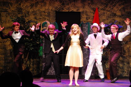 "Hattie Clark, Lebanon, recipient of The Jean Jackson Scholarship for graduating Youth Actors, performs, ""Walking on Sunshine"" from her YA Best Actress Nominated performance in, ""Taming of the Shrew"" with back-up dancers from left, Bob Grider, Scott and Silas Humphress and Aaron Robinson."