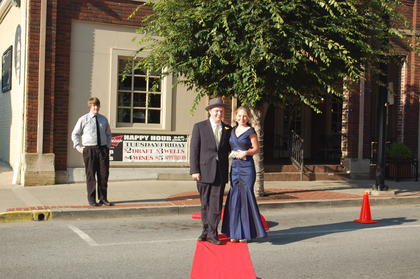 "Youth Actor Jeannie Award winners for Best Actor - Bob Grider, 'Les Mis' and Best Supporting Actress, Rose Clements, ""Phantom"" pose on the red carpet before the Central Kentucky Community Theatre's Jeannie Awards Gala.  The evening began with dinner at Mordecai's, diners crossed Main Street on the red carpet and into the Opera House, Springfield, KY for a dazzling night of fun and entertainment."