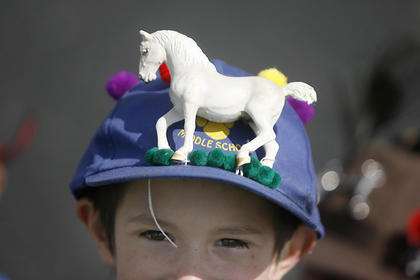 Dalton Smith donned his Derby hat on Friday during a Derby parade at North Washington Elementary School.