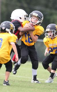 Damian Martin-Seay runs the ball for Washington County Gold youth football team Saturday against Taylor County.
