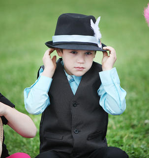 North Washington Elementary kindergartener Christopher Callahan is all dressed up for the school's annual Kentucky Derby celebration.