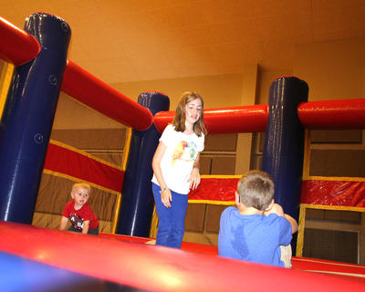 Children enjoy bouncing around.