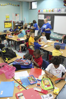Students at WCES settle in for their first day of school on Thursday.