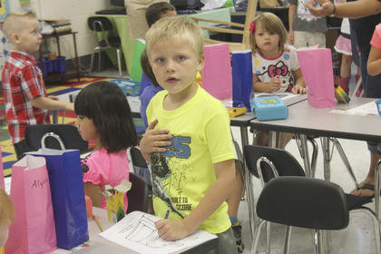 Carter Burkett joins his class for the first day of school last week at North Washington.